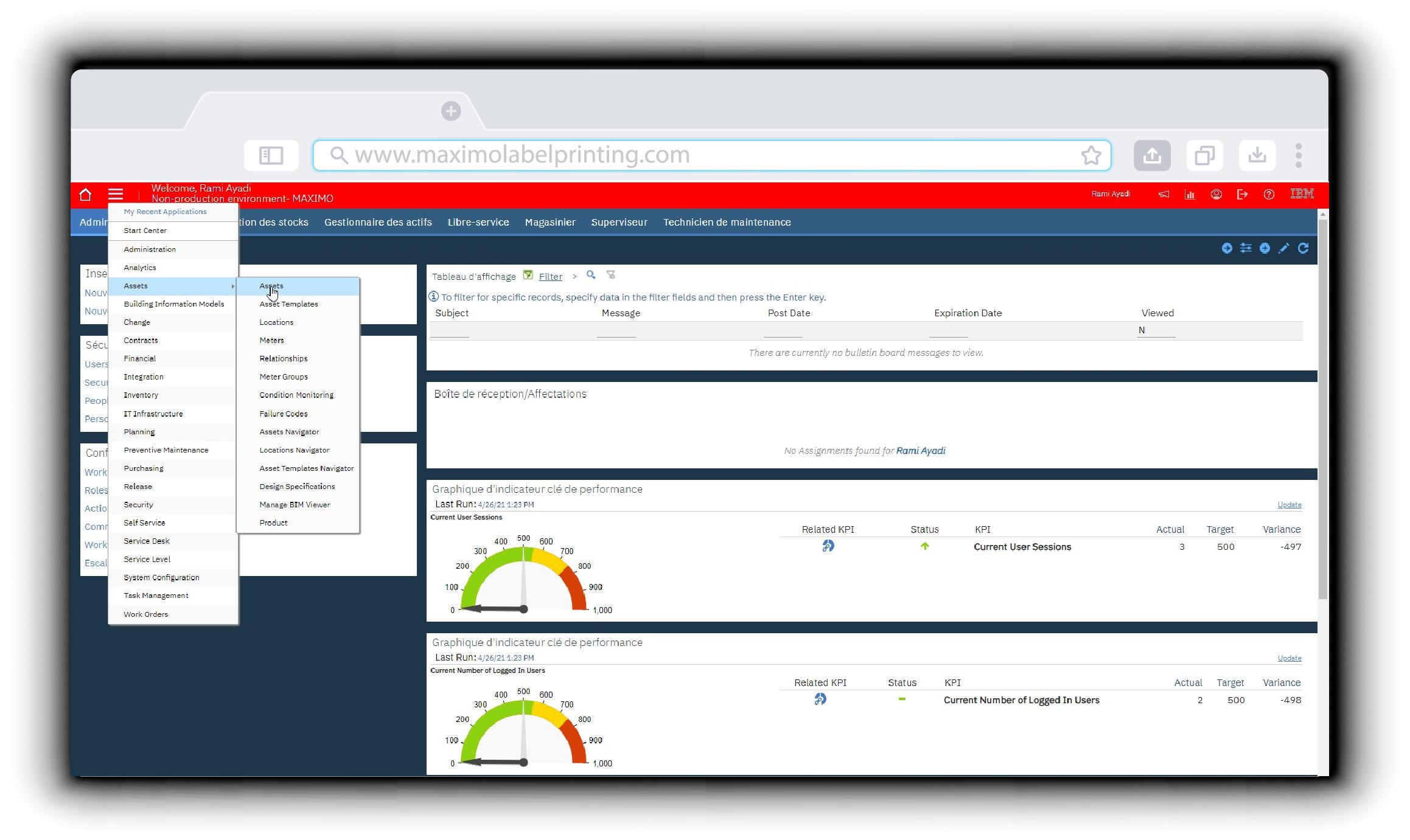 IBM Maximo dashboard